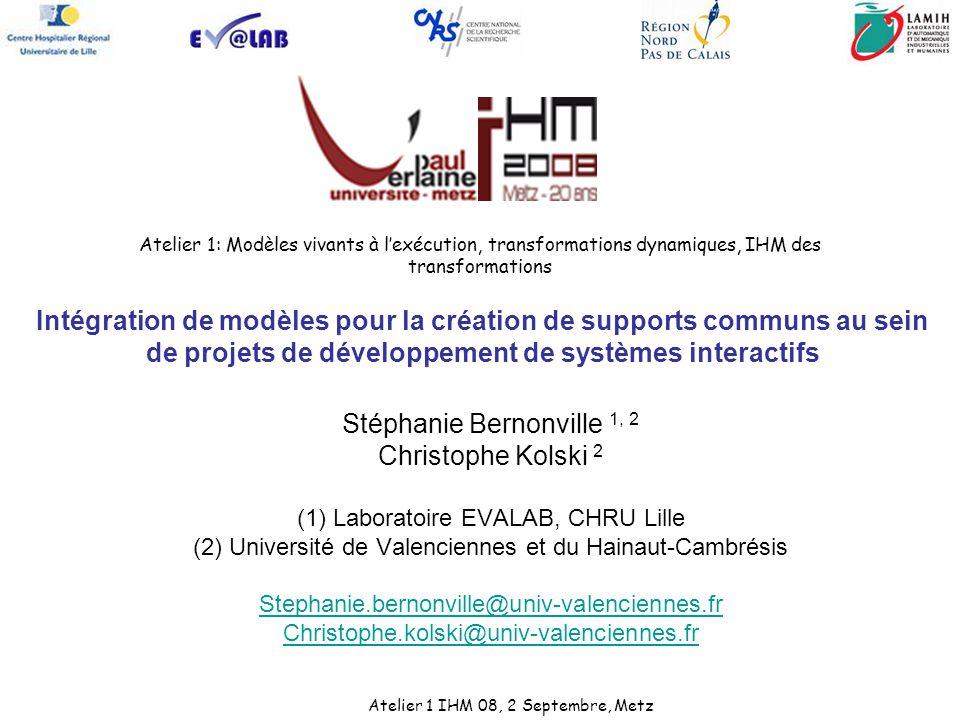 Atelier 1: Modèles vivants à lexécution, transformations dynamiques, IHM des transformations Stéphanie Bernonville 1, 2 Christophe Kolski 2 (1) Labora