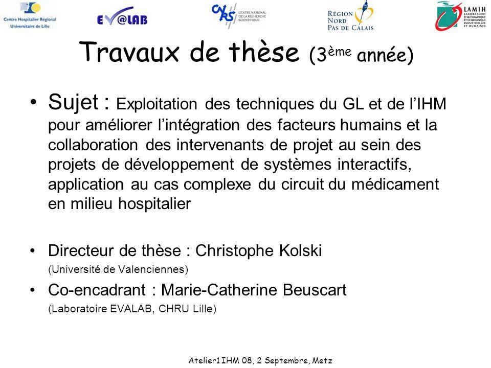 Travaux de thèse (3 ème année) Sujet : Exploitation des techniques du GL et de lIHM pour améliorer lintégration des facteurs humains et la collaborati