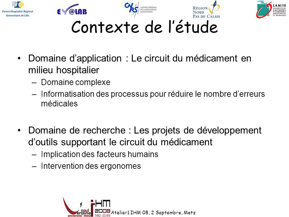 Contexte de létude Domaine dapplication : Le circuit du médicament en milieu hospitalier –Domaine complexe –Informatisation des processus pour réduire
