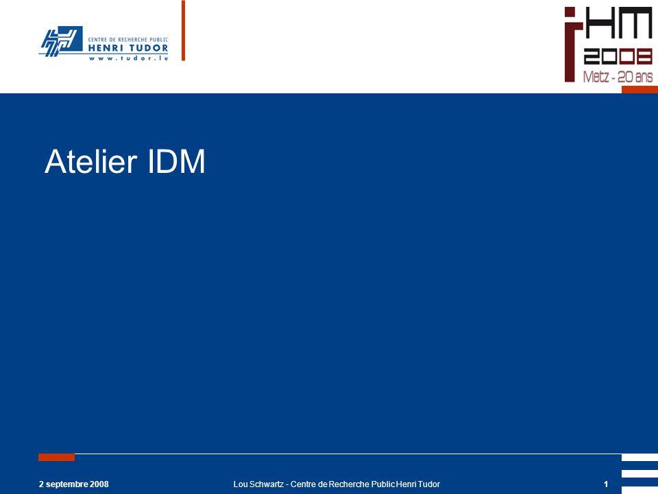 2 septembre 2008Lou Schwartz - Centre de Recherche Public Henri Tudor1 Atelier IDM