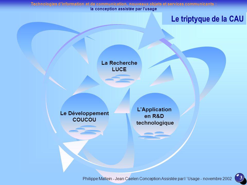 Technologies dInformation et de communication, nouveaux objets et services communicants : la conception assistée par lusage 3 La Recherche LUCE LAppli