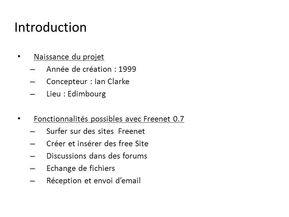 Introduction Naissance du projet – Année de création : 1999 – Concepteur : Ian Clarke – Lieu : Edimbourg Fonctionnalités possibles avec Freenet 0.7 – Surfer sur des sites Freenet – Créer et insérer des free Site – Discussions dans des forums – Echange de fichiers – Réception et envoi demail
