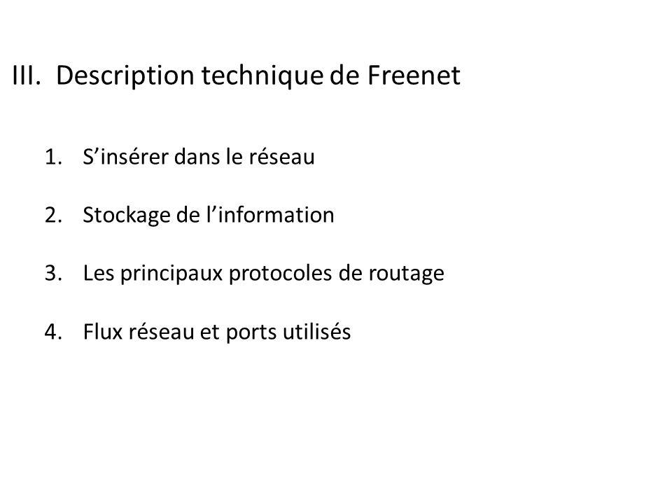 III.Description technique de Freenet 1. Sinsérer dans le réseau 2.