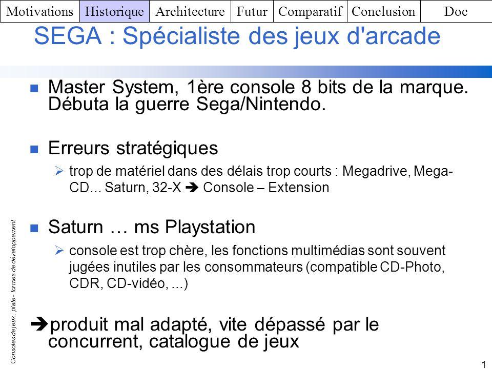 Consoles de jeux : plate - formes de développement 1 SEGA : Spécialiste des jeux d'arcade Master System, 1ère console 8 bits de la marque. Débuta la g