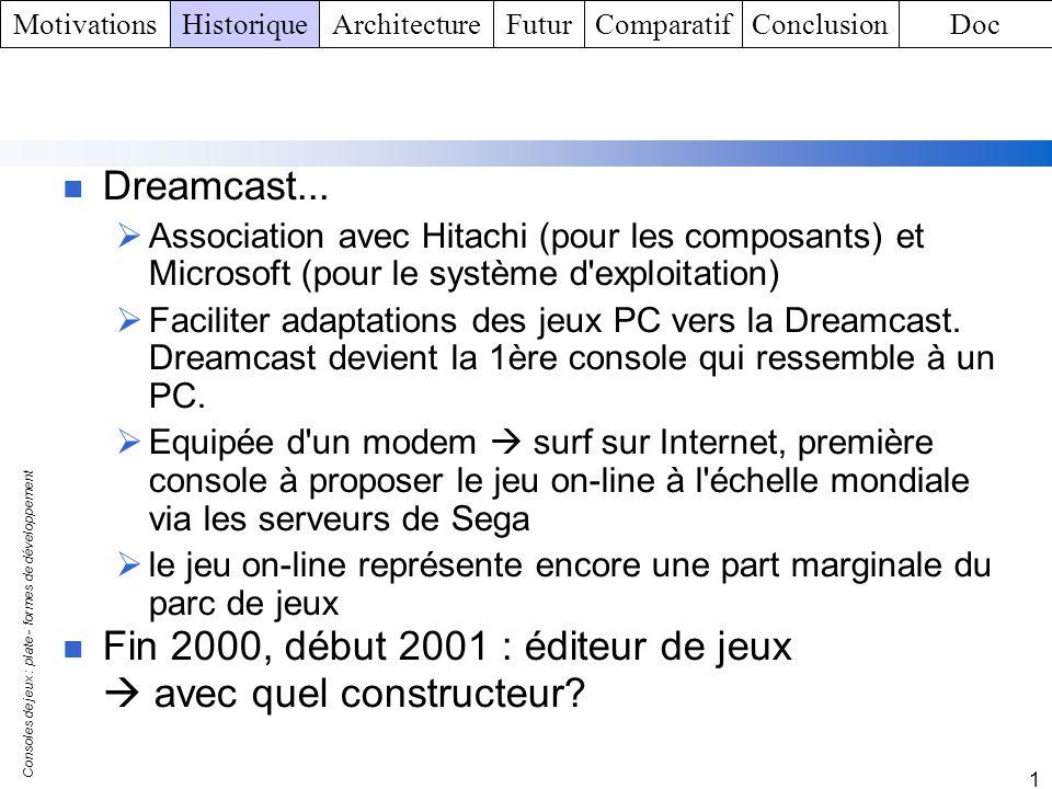 Consoles de jeux : plate - formes de développement 1 Dreamcast... Association avec Hitachi (pour les composants) et Microsoft (pour le système d'explo