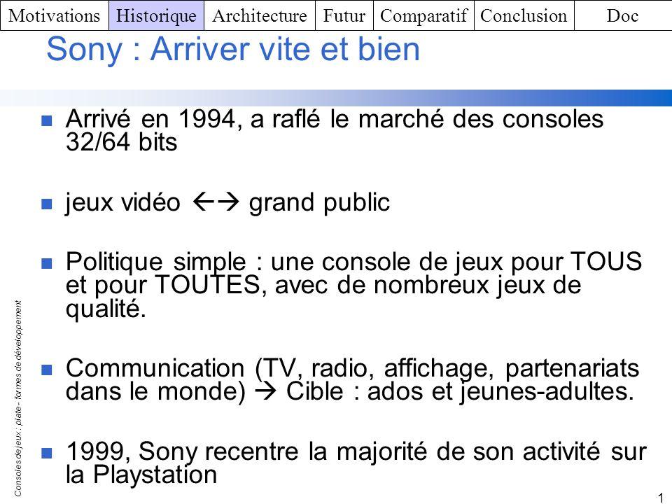 Consoles de jeux : plate - formes de développement 1 Sony : Arriver vite et bien Arrivé en 1994, a raflé le marché des consoles 32/64 bits jeux vidéo