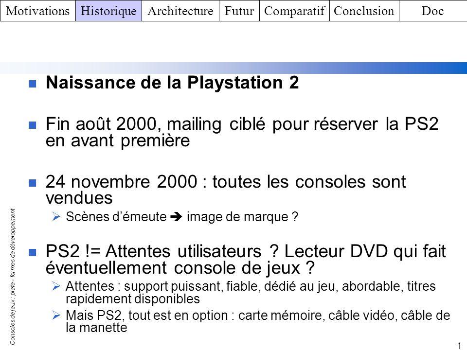 Consoles de jeux : plate - formes de développement 1 Naissance de la Playstation 2 Fin août 2000, mailing ciblé pour réserver la PS2 en avant première