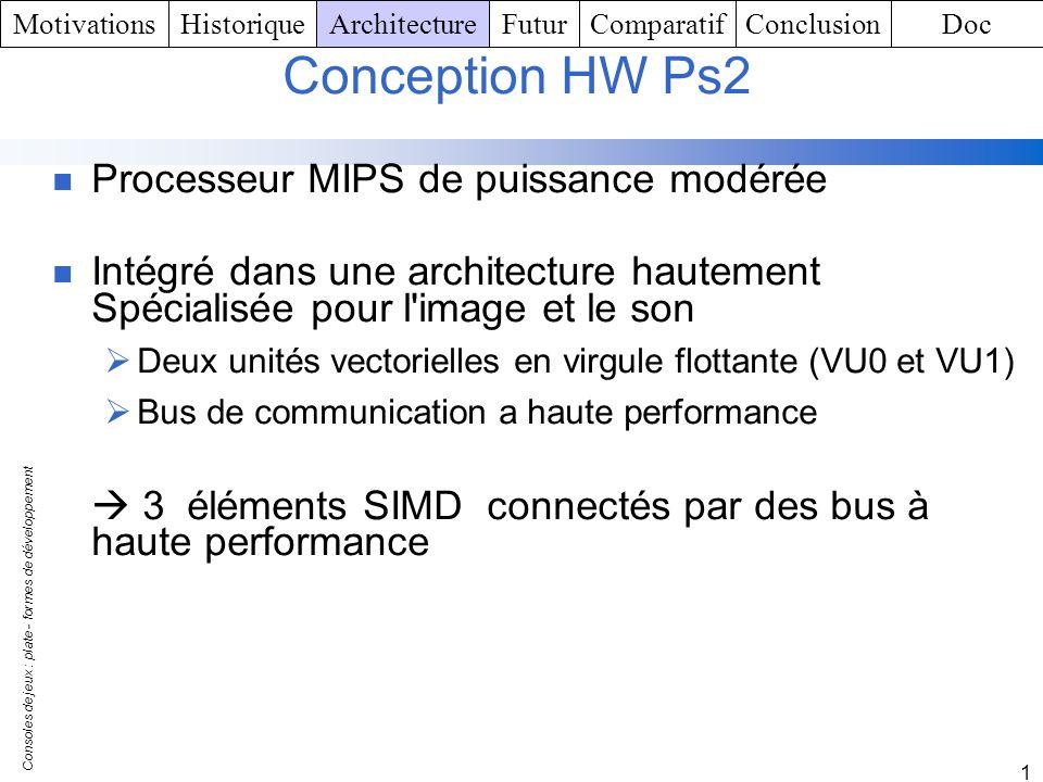 Consoles de jeux : plate - formes de développement 1 Conception HW Ps2 Processeur MIPS de puissance modérée Intégré dans une architecture hautement Sp