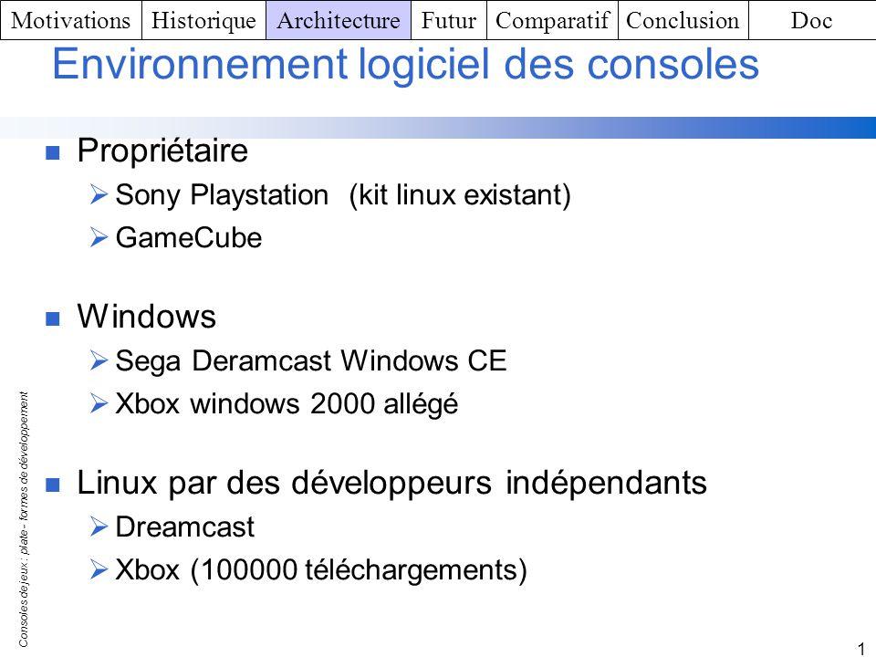 Consoles de jeux : plate - formes de développement 1 Environnement logiciel des consoles Propriétaire Sony Playstation (kit linux existant) GameCube W