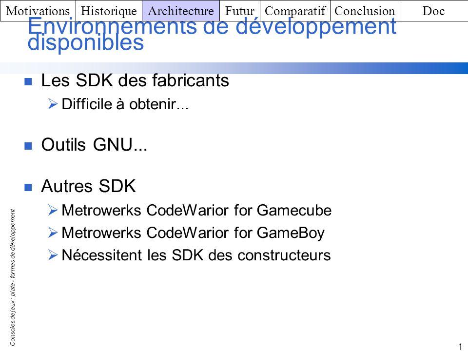 Consoles de jeux : plate - formes de développement 1 Environnements de développement disponibles Les SDK des fabricants Difficile à obtenir... Outils