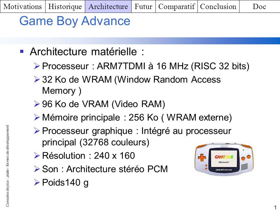 Consoles de jeux : plate - formes de développement 1 Game Boy Advance Architecture matérielle : Processeur : ARM7TDMI à 16 MHz (RISC 32 bits) 32 Ko de