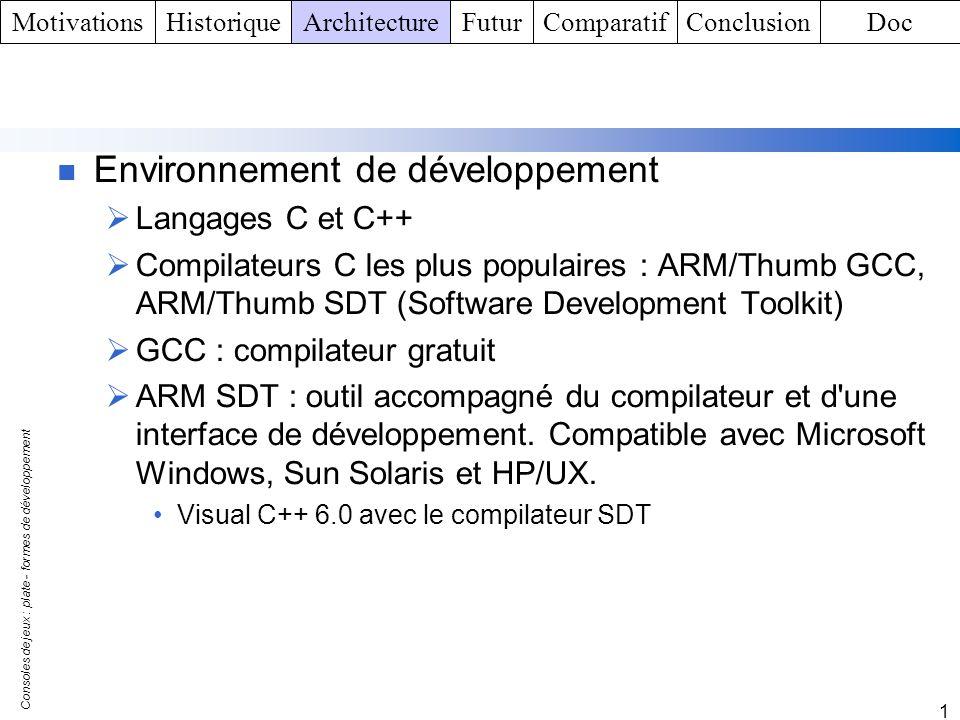 Consoles de jeux : plate - formes de développement 1 Environnement de développement Langages C et C++ Compilateurs C les plus populaires : ARM/Thumb G