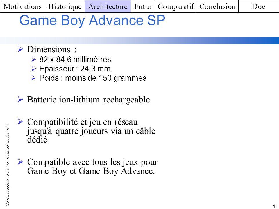 Consoles de jeux : plate - formes de développement 1 Game Boy Advance SP Dimensions : 82 x 84,6 millimètres Epaisseur : 24,3 mm Poids : moins de 150 g