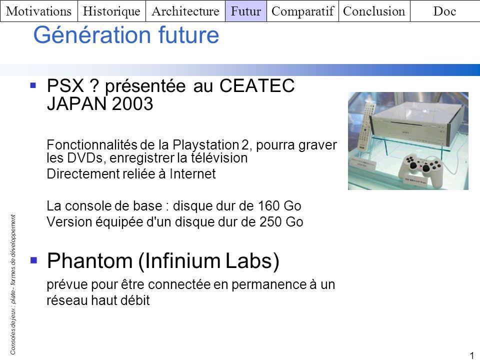 Consoles de jeux : plate - formes de développement 1 Génération future PSX ? présentée au CEATEC JAPAN 2003 Fonctionnalités de la Playstation 2, pourr