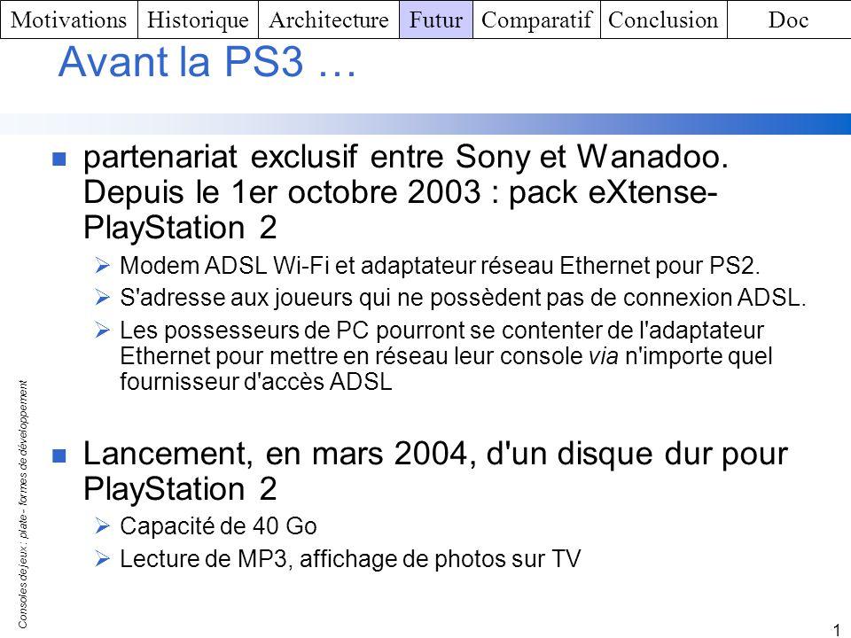 Consoles de jeux : plate - formes de développement 1 Avant la PS3 … partenariat exclusif entre Sony et Wanadoo. Depuis le 1er octobre 2003 : pack eXte