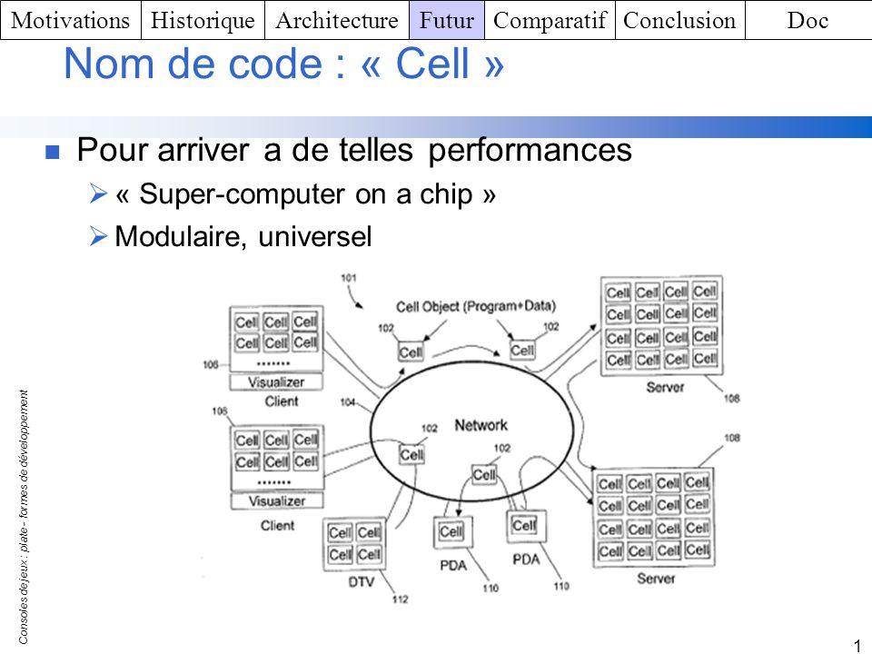 Consoles de jeux : plate - formes de développement 1 Nom de code : « Cell » Pour arriver a de telles performances « Super-computer on a chip » Modulai