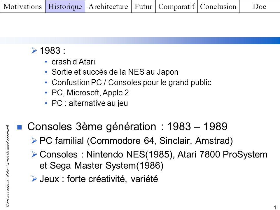 Consoles de jeux : plate - formes de développement 1 Environnement logiciel de la Xbox Xbox intègre un Windows NT allégé Pas de mémoire virtuelle Pas de gestion de mode utilisateur / mode Noyau Simplification Gère un processeur Pas de gestion des utilisateurs Xbox Live Acces internet pour le Jeu MotivationsHistoriqueArchitectureFuturComparatifConclusionDoc