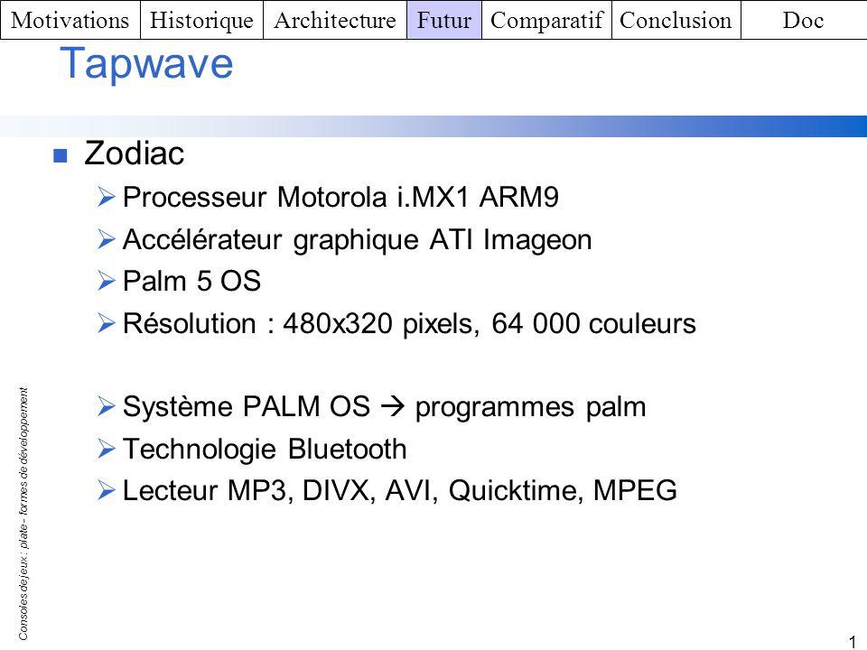 Consoles de jeux : plate - formes de développement 1 Tapwave Zodiac Processeur Motorola i.MX1 ARM9 Accélérateur graphique ATI Imageon Palm 5 OS Résolu