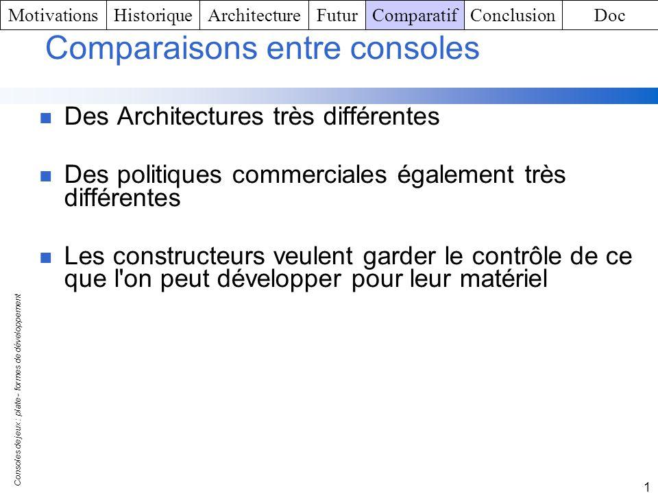 Consoles de jeux : plate - formes de développement 1 Comparaisons entre consoles Des Architectures très différentes Des politiques commerciales égalem