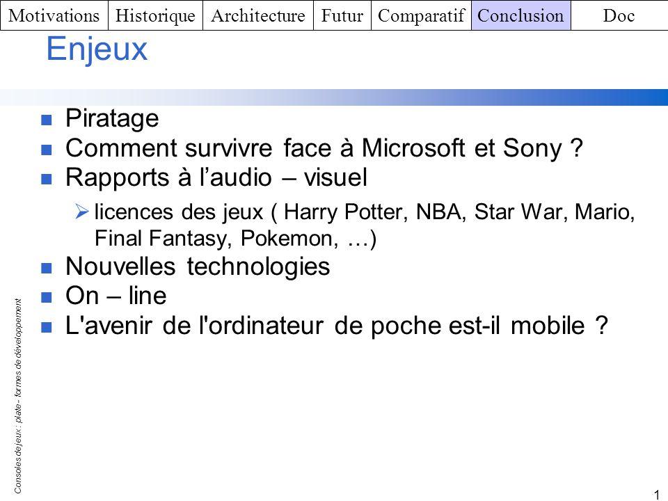 Consoles de jeux : plate - formes de développement 1 Enjeux Piratage Comment survivre face à Microsoft et Sony ? Rapports à laudio – visuel licences d