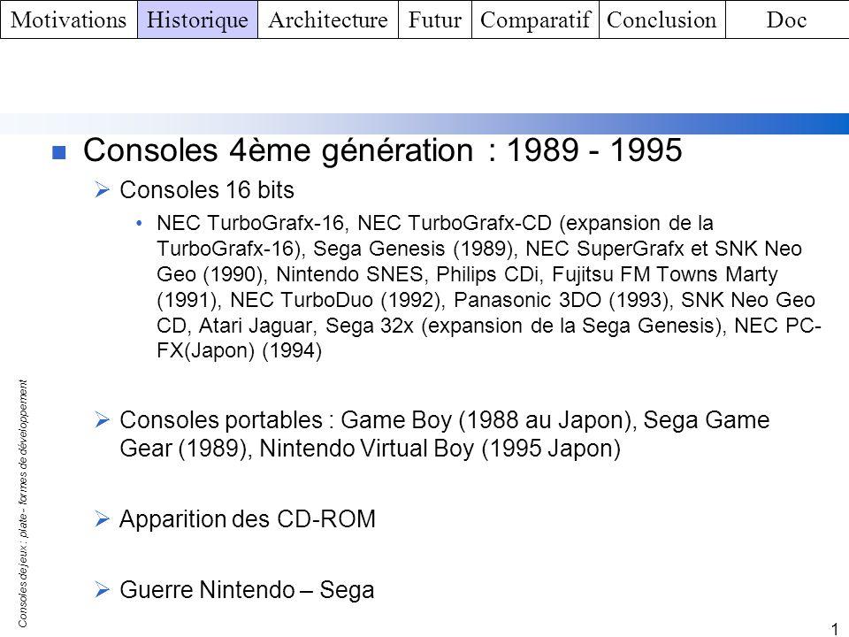 Consoles de jeux : plate - formes de développement 1 Consoles 5ème génération : 1995 – 2001 Consoles 32 bits et PC Sega Saturn, Sony PlayStation (1995), Nintendo 64 (1996), Sega Dreamcast (1999), Sony PlayStation 2 (2000) Consoles portables Game Boy Pocket (1996), Game Boy Color (1998), SNK Neo – Geo Pocket (1998), Bandaï Wonderswan, : SNK Neo – Geo Pocket Color (1999), Bandaï Wonderswan Color (2000 Japon) Jeux on - line Consoles 6ème génération : 2001 - ….