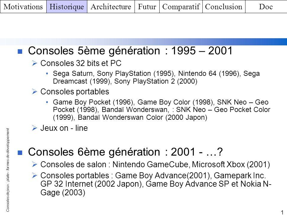 Consoles de jeux : plate - formes de développement 1 Conclusion et Perspectives Volonté des fabricants de limiter lutilisation du matériel Peur de « casser » le marché du PC Prochaine génération.