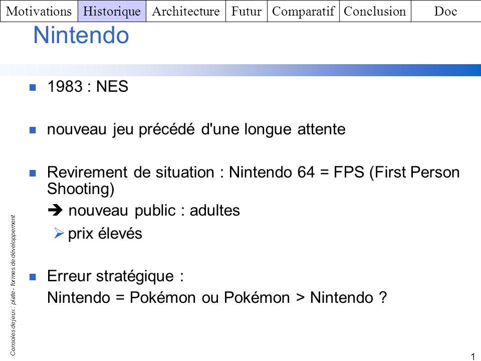Consoles de jeux : plate - formes de développement 1 Game Boy Advance : recyclage de Nintendo support marketing puissante, nombreux jeux (mais reprise des jeux existants) Course à la réédition stratégie financière La GameCube Réelle nouveauté chez Nintendo.