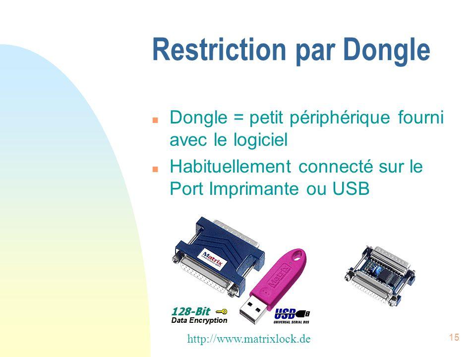 15 Restriction par Dongle n Dongle = petit périphérique fourni avec le logiciel n Habituellement connecté sur le Port Imprimante ou USB http://www.matrixlock.de
