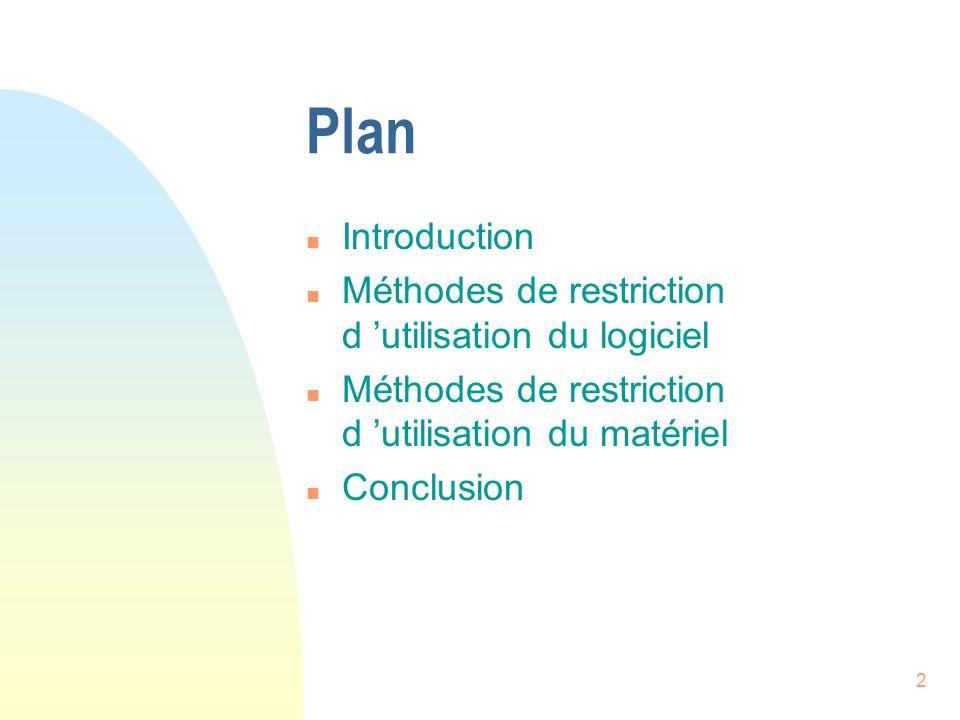 2 Plan n Introduction n Méthodes de restriction d utilisation du logiciel n Méthodes de restriction d utilisation du matériel n Conclusion