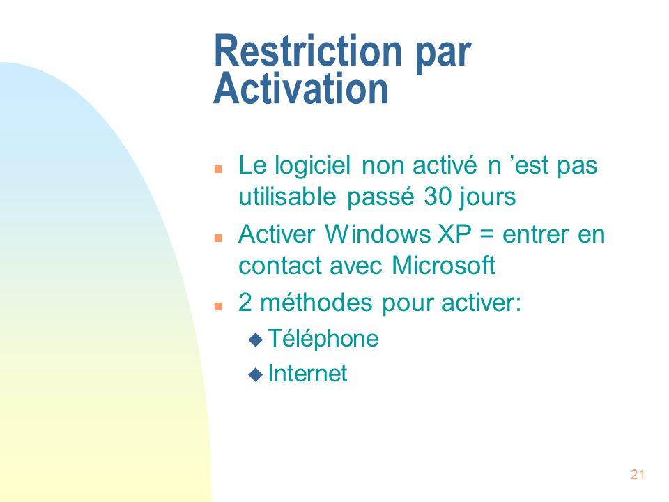21 Restriction par Activation n Le logiciel non activé n est pas utilisable passé 30 jours n Activer Windows XP = entrer en contact avec Microsoft n 2 méthodes pour activer: u Téléphone u Internet