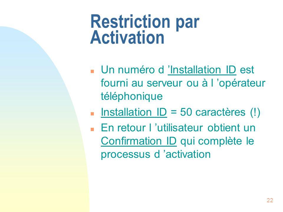 22 Restriction par Activation n Un numéro d Installation ID est fourni au serveur ou à l opérateur téléphonique n Installation ID = 50 caractères (!) n En retour l utilisateur obtient un Confirmation ID qui complète le processus d activation