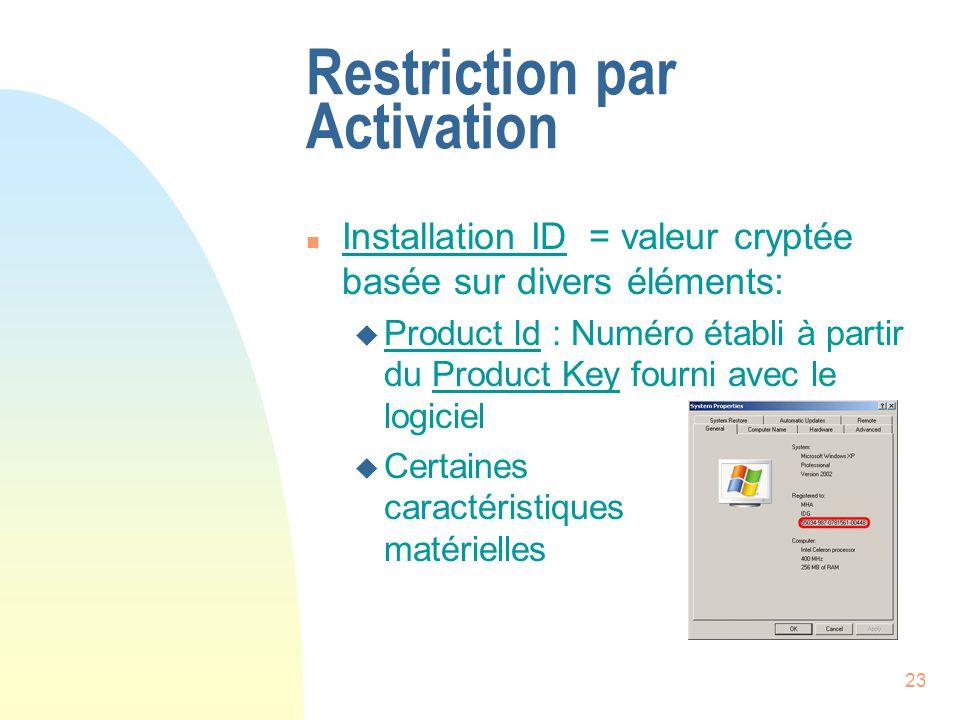 23 Restriction par Activation n Installation ID = valeur cryptée basée sur divers éléments: u Product Id : Numéro établi à partir du Product Key fourni avec le logiciel u Certaines caractéristiques matérielles