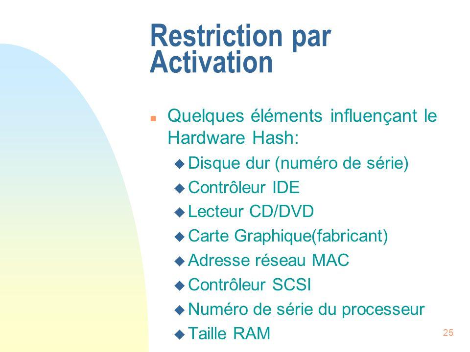 25 Restriction par Activation n Quelques éléments influençant le Hardware Hash: u Disque dur (numéro de série) u Contrôleur IDE u Lecteur CD/DVD u Carte Graphique(fabricant) u Adresse réseau MAC u Contrôleur SCSI u Numéro de série du processeur u Taille RAM