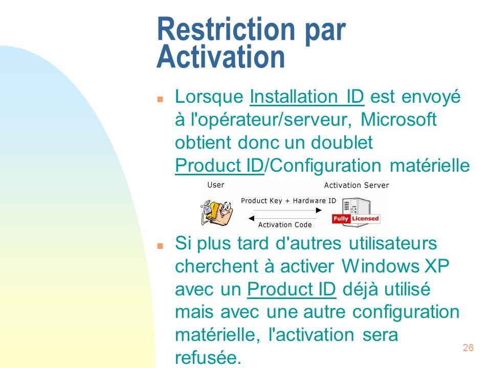 26 Restriction par Activation n Lorsque Installation ID est envoyé à l opérateur/serveur, Microsoft obtient donc un doublet Product ID/Configuration matérielle n Si plus tard d autres utilisateurs cherchent à activer Windows XP avec un Product ID déjà utilisé mais avec une autre configuration matérielle, l activation sera refusée.