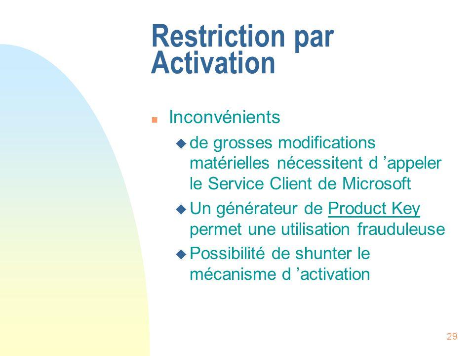 29 Restriction par Activation n Inconvénients u de grosses modifications matérielles nécessitent d appeler le Service Client de Microsoft u Un générateur de Product Key permet une utilisation frauduleuse u Possibilité de shunter le mécanisme d activation