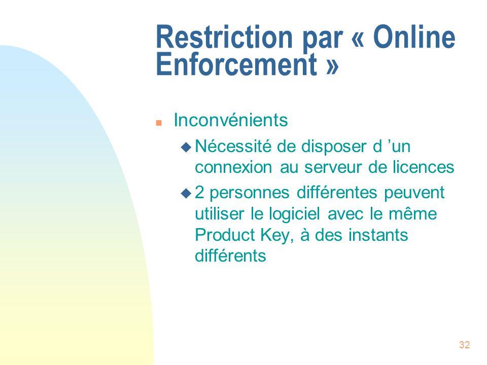 32 Restriction par « Online Enforcement » n Inconvénients u Nécessité de disposer d un connexion au serveur de licences u 2 personnes différentes peuvent utiliser le logiciel avec le même Product Key, à des instants différents