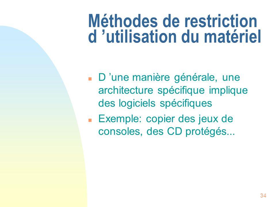 34 Méthodes de restriction d utilisation du matériel n D une manière générale, une architecture spécifique implique des logiciels spécifiques n Exemple: copier des jeux de consoles, des CD protégés...