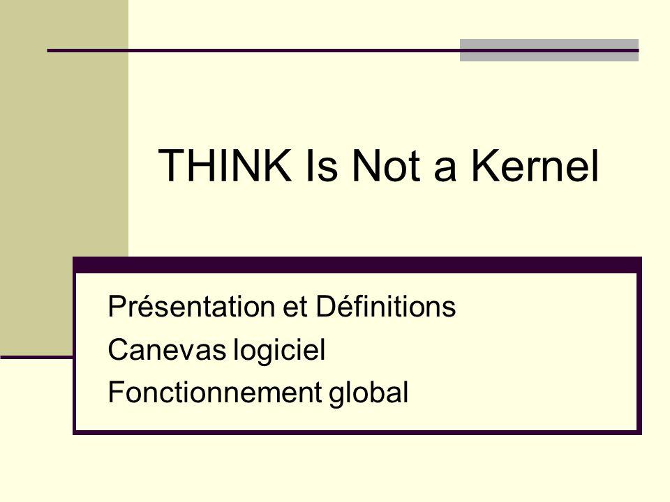 THINK Is Not a Kernel Présentation et Définitions Canevas logiciel Fonctionnement global