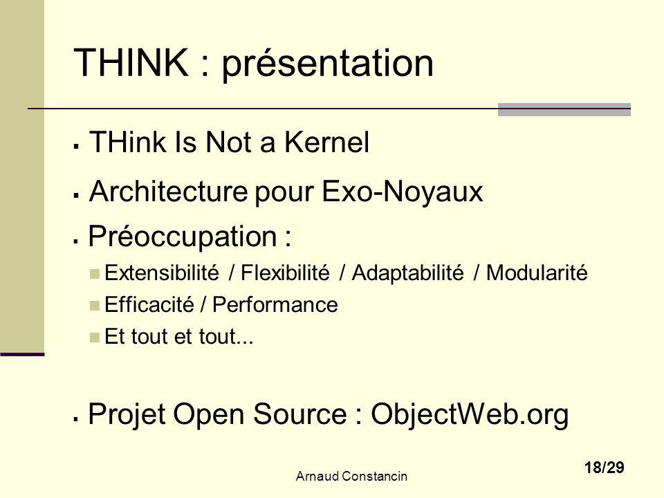 Arnaud Constancin 18/29 THINK : présentation THink Is Not a Kernel Architecture pour Exo-Noyaux Préoccupation : Extensibilité / Flexibilité / Adaptabi