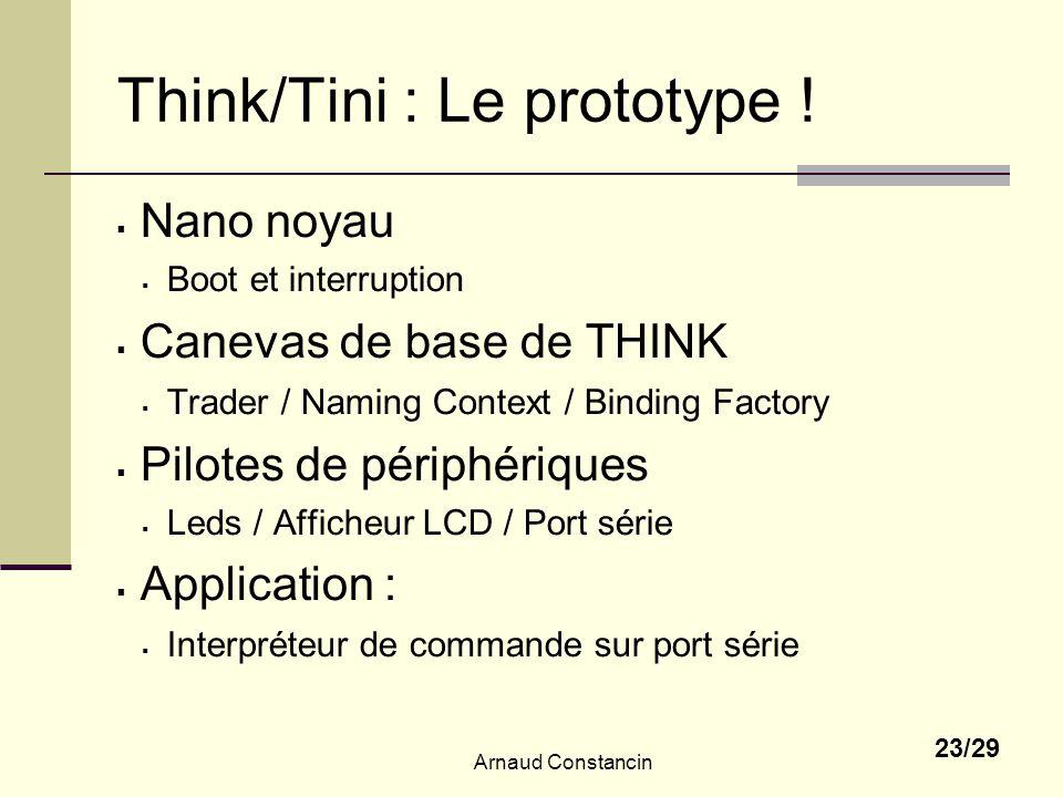 Arnaud Constancin 23/29 Think/Tini : Le prototype ! Nano noyau Boot et interruption Canevas de base de THINK Trader / Naming Context / Binding Factory