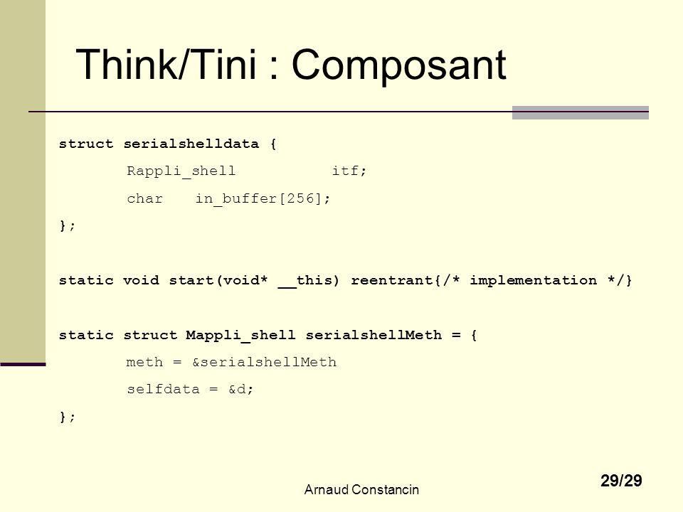 Arnaud Constancin 29/29 Think/Tini : Composant struct serialshelldata { Rappli_shellitf; charin_buffer[256]; }; static void start(void* __this) reentrant{/* implementation */} static struct Mappli_shell serialshellMeth = { meth = &serialshellMeth selfdata = &d; };