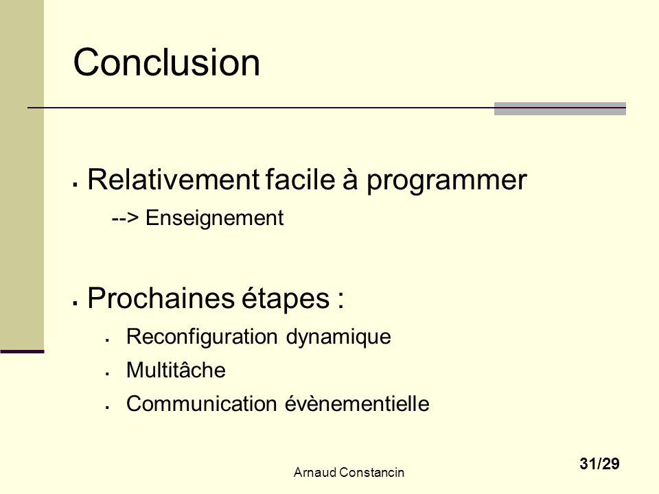 Arnaud Constancin 31/29 Conclusion Relativement facile à programmer --> Enseignement Prochaines étapes : Reconfiguration dynamique Multitâche Communication évènementielle
