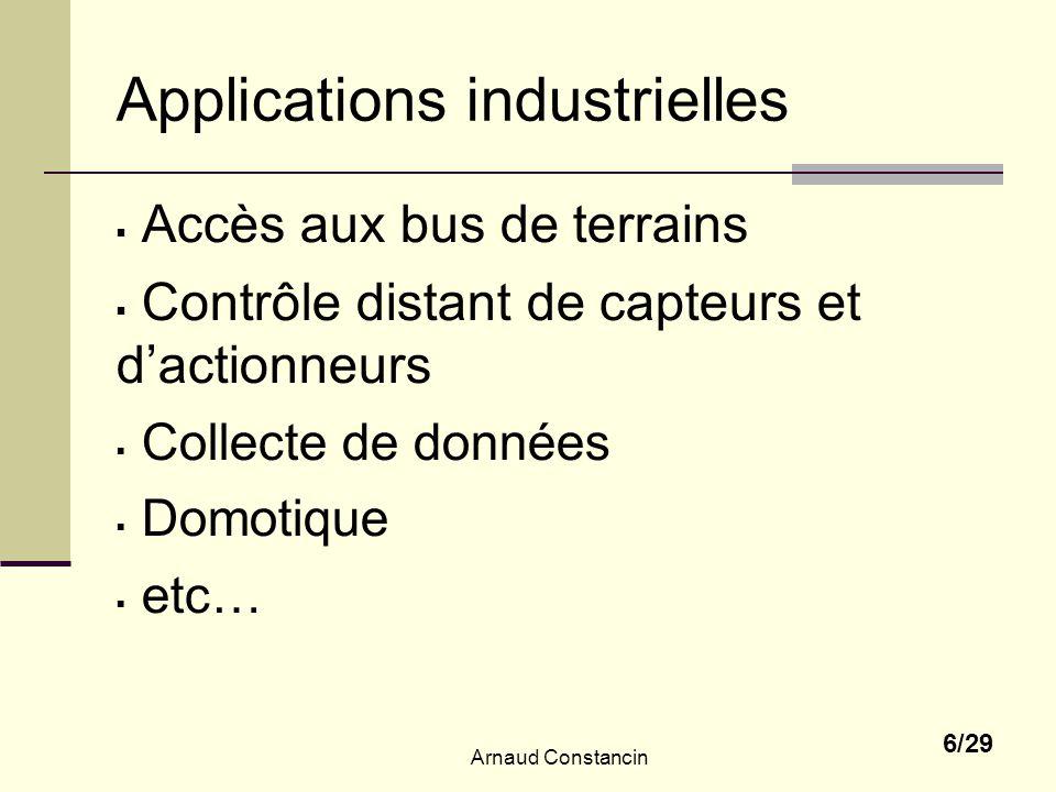 Arnaud Constancin 6/29 Applications industrielles Accès aux bus de terrains Contrôle distant de capteurs et dactionneurs Collecte de données Domotique