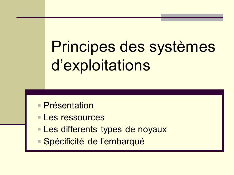 Principes des systèmes dexploitations Présentation Les ressources Les differents types de noyaux Spécificité de lembarqué