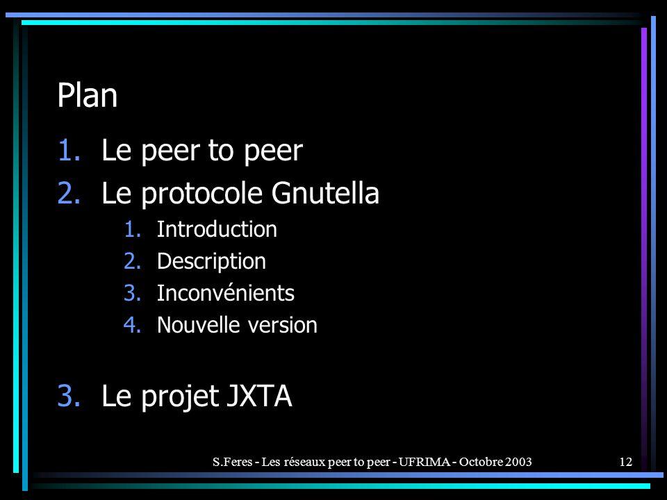 S.Feres - Les réseaux peer to peer - UFRIMA - Octobre 200312 Plan 1.Le peer to peer 2.Le protocole Gnutella 1.Introduction 2.Description 3.Inconvénients 4.Nouvelle version 3.Le projet JXTA