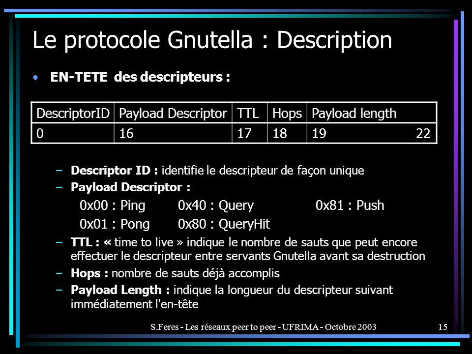 S.Feres - Les réseaux peer to peer - UFRIMA - Octobre 200315 Le protocole Gnutella : Description EN-TETE des descripteurs : –Descriptor ID : identifie le descripteur de façon unique –Payload Descriptor : 0x00 : Ping 0x40 : Query0x81 : Push 0x01 : Pong 0x80 : QueryHit –TTL : « time to live » indique le nombre de sauts que peut encore effectuer le descripteur entre servants Gnutella avant sa destruction –Hops : nombre de sauts déjà accomplis –Payload Length : indique la longueur du descripteur suivant immédiatement l en-tête DescriptorIDPayload DescriptorTTLHopsPayload length 016171819 22