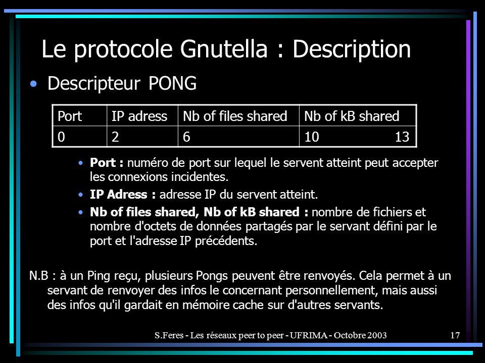 S.Feres - Les réseaux peer to peer - UFRIMA - Octobre 200317 Le protocole Gnutella : Description Descripteur PONG Port : numéro de port sur lequel le servent atteint peut accepter les connexions incidentes.