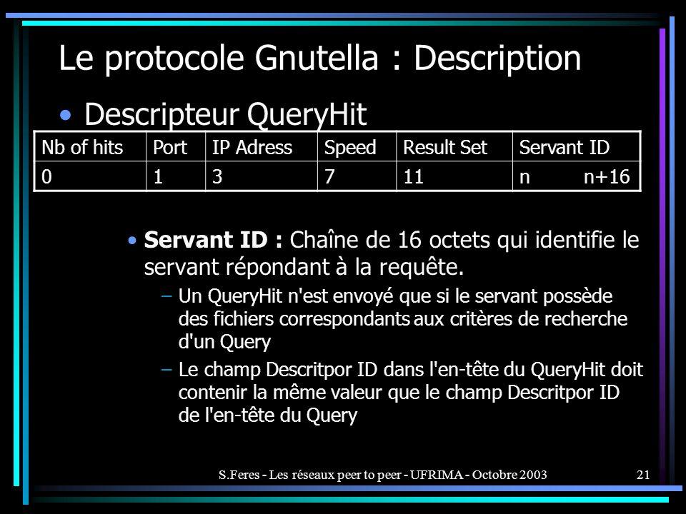 S.Feres - Les réseaux peer to peer - UFRIMA - Octobre 200321 Le protocole Gnutella : Description Descripteur QueryHit Servant ID : Chaîne de 16 octets qui identifie le servant répondant à la requête.