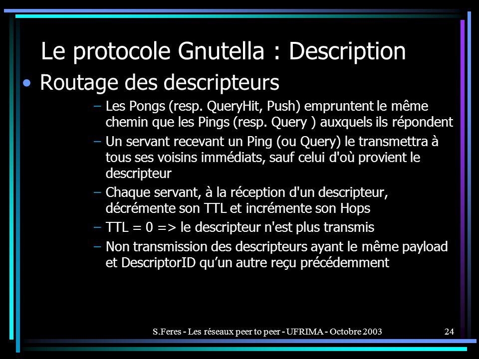 S.Feres - Les réseaux peer to peer - UFRIMA - Octobre 200324 Le protocole Gnutella : Description Routage des descripteurs –Les Pongs (resp.