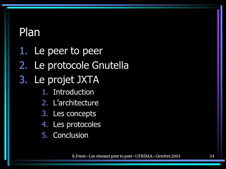 S.Feres - Les réseaux peer to peer - UFRIMA - Octobre 200334 Plan 1.Le peer to peer 2.Le protocole Gnutella 3.Le projet JXTA 1.Introduction 2.Larchitecture 3.Les concepts 4.Les protocoles 5.Conclusion